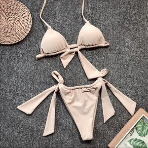 NEW SWIMWEAR HALTER LACE UP BOW TOP MICRO THONG